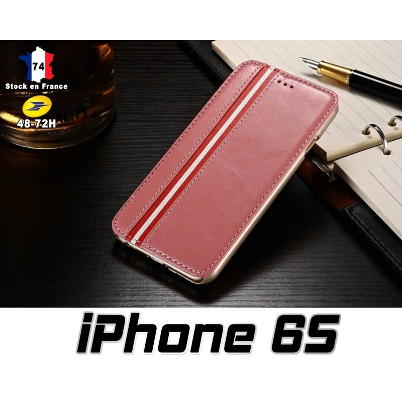 iPhone 6S Housse Etui Simili Cuir Lilas Stand Option