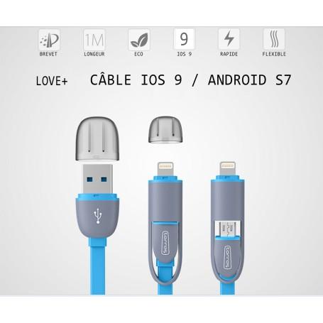 Cable Certifié ios9 2in1Micro USB iPhone 6S HTC M9 10 Galaxy Edge 6 7 plus