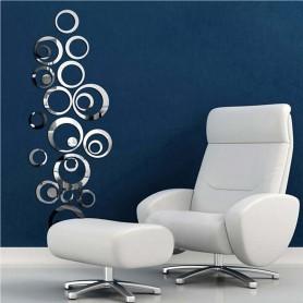 24 Pièces 3D Stickers Cercle Anneau Acrylique Miroir Déco Maison