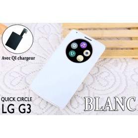 Etui S view Cover Blanc LG G3 Quick Circle QI Chargeur Puce Film offert
