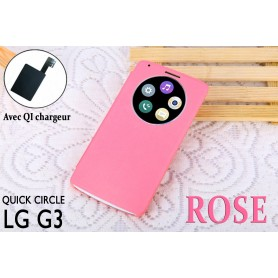 Etui S view Cover Rosé LG G3 Quick Circle QI Chargeur Puce Film offert
