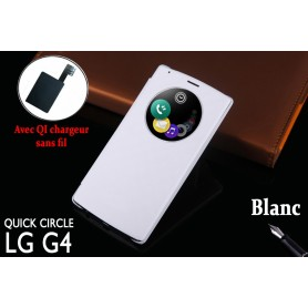 Etui S view Cover Blanc LG G4 Smart Circle QI Chargeur Puce Film offert