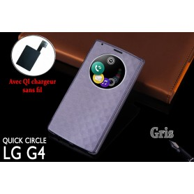 Etui S view Cover Gris LG G4 Smart Circle QI Chargeur Puce Film offert
