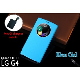 Etui S view Cover Bleu LG G4 Smart Circle QI Chargeur Puce Film offert