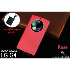 Etui S view Cover Rose LG G4 Smart Circle QI Chargeur Puce Film offert