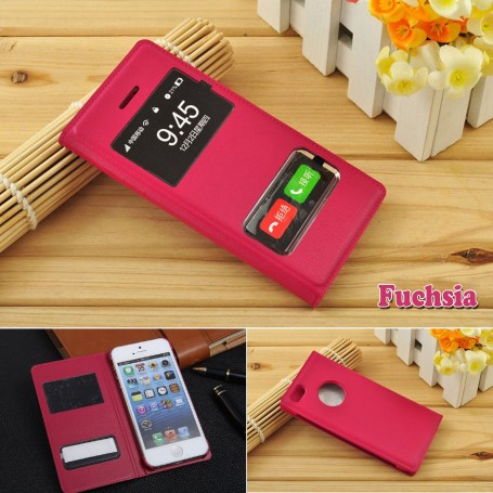 Housse Etui Flip Smart View Cover Fuchsia iPhone 5-5S-5E Film Port Offert