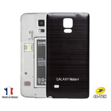 Arriéré Cache Batterie Alu Brosse Noir Samsung Galaxy Note 4 Cover Battery