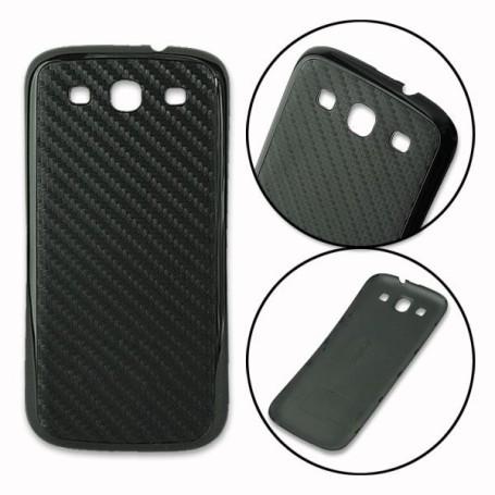 Batterie Cache Arriéré Fibre Carbone Noir Samsung Galaxy S3