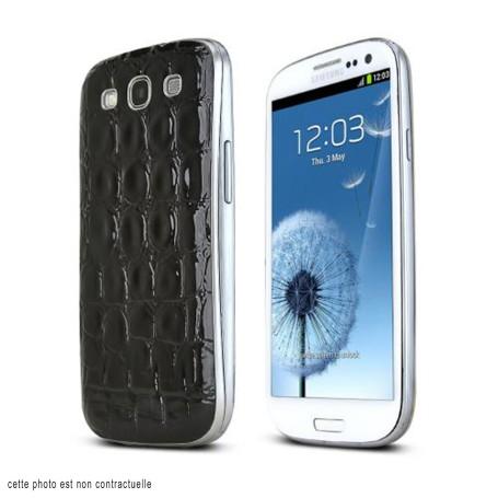 Arriéré Cache Batterie Alligator Motif Noir Samsung Galaxy S3 Cover Battery