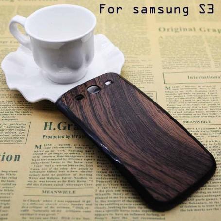 Batterie Cache Arriéré Motif Bois Brun Pour Samsung Galaxy S3