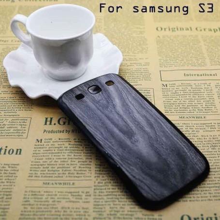 Batterie Cache Arriéré Motif Bois Noir Pour Samsung Galaxy S3