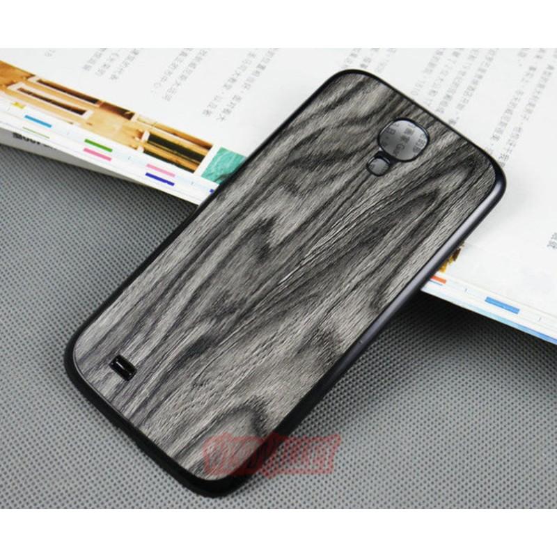 Batterie Cache Arriéré Motif Bois Noir Pour Samsung Galaxy S4