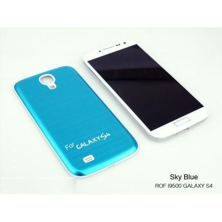 Batterie Cache Arriéré Alu Brosse Bleu Pour Samsung Galaxy S4