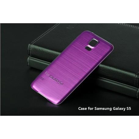 Batterie Cache Arriéré Alu Brosse Fuchsia Pour Samsung Galaxy S5