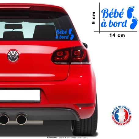 """Stickers """"Bébé à bord"""" 14x9 cm """"Bleu"""" Promo Garçon pied découpe 056"""