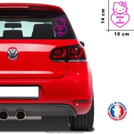 """Stickers """"Bébé à bord Hello Kitty """" Lilas 14x10 cm Promo fille Découpe FR 045"""
