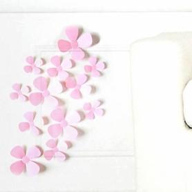 12 Pièces Lot 3D Stickers Fleur Trèfle à 4 Rose Pvc Design Pétales Décoration Maison