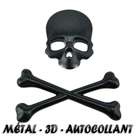 Métal Skeleton Noir autocollant de voiture de moto 3D Étiquette d'insigne d'emblème