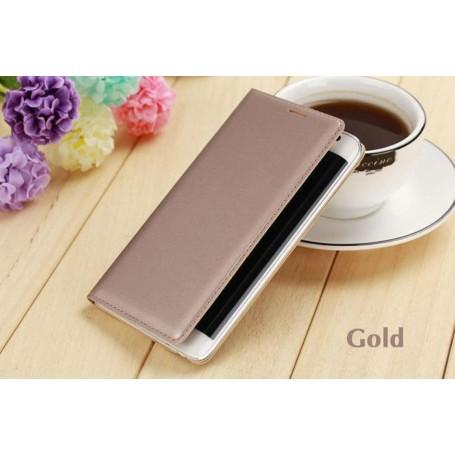 Etui Simili Cuir Doré Samsung Galaxy Note Edge & Flip Cover