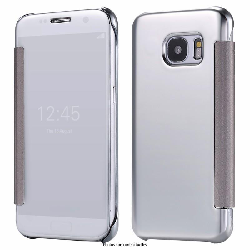 KISSCASE Étui Silver Clear view pour Samsung Galaxy S8 Flip Étuis Cover ultra fin