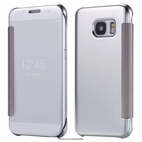 KISSCASE Étui ARGENT Silver Clear view pour Samsung Galaxy S8 Flip Cover ultra fin