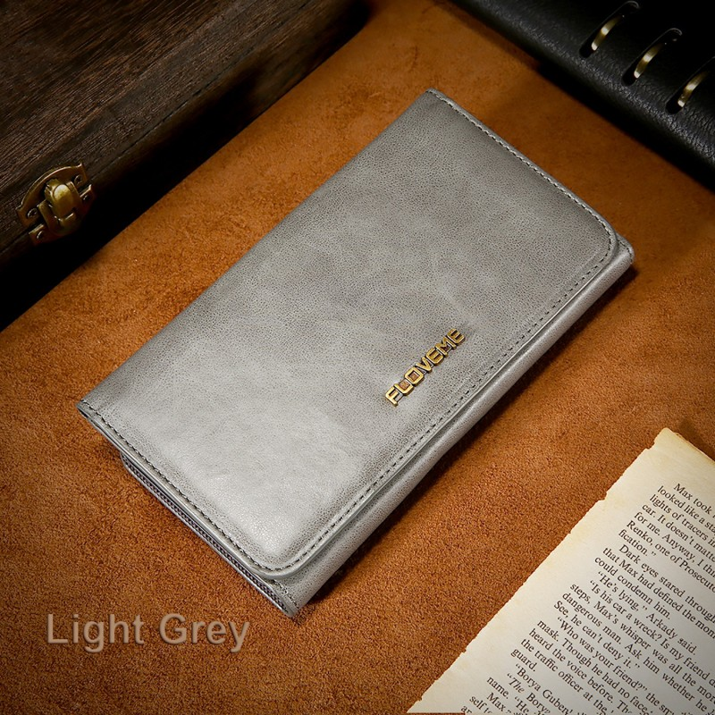 FLOVEME Étui Cuir Véritable GRIS Porte-feuille Combiné Magnétique iPhone 7 Business Détenteurs de cartes